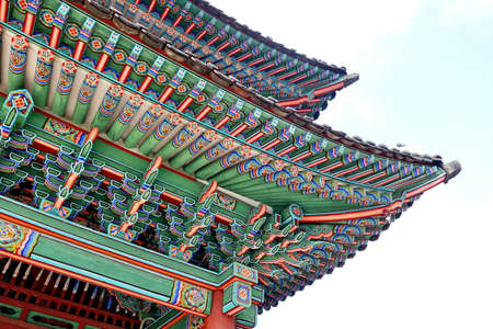Korean traditional architecture. Roof detail of palace in Seoul. Editorial