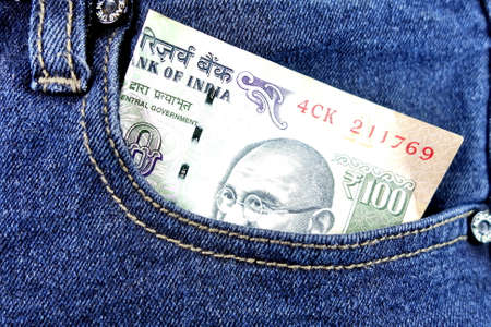 indian money: Indian money in jean pocket. Stock Photo