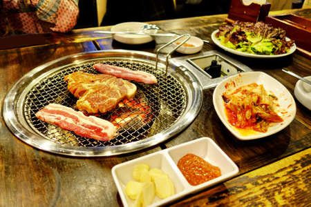 sizzle: Korean cuisine barbecue grill ,Korean BBQ Stock Photo