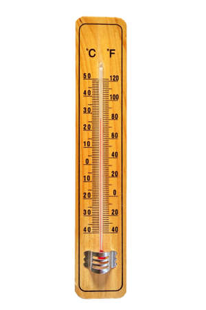 hotter: Thermometer on wooden base with celsius and fahrenheit scale isolated on white background.