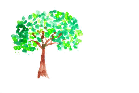 naive water color painting of green tree