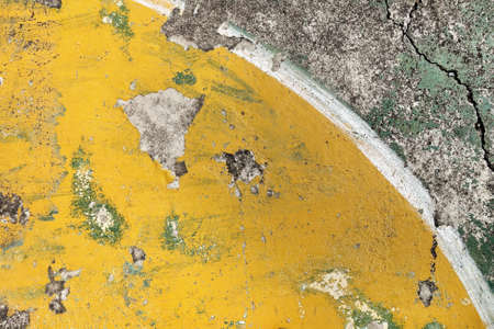blacktop: Old painted concrete floor. Ruin basketball court. Stock Photo