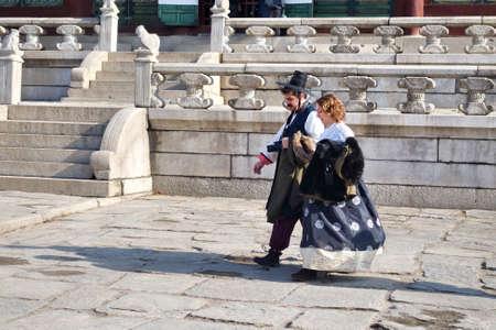 Seoul : 7 December 2017, Tourists wearing Korean traditional hanbok costume in Gyeongbokgung palace.
