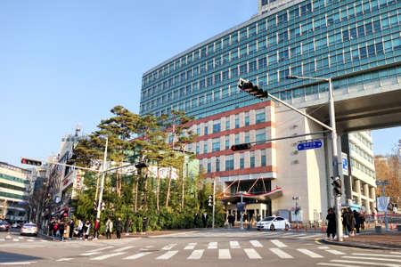 SEOUL, SOUTH KOREA - December 7, 2017: People around area of Hongdae (Hongik University), in Seoul, South Korea. Editorial