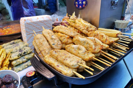 Seoul, South Korea - December 8, 2017:  Street food stall in Hongdae street. This area is a famous shopping area for locals and tourists in Seoul, South Korea. Editorial