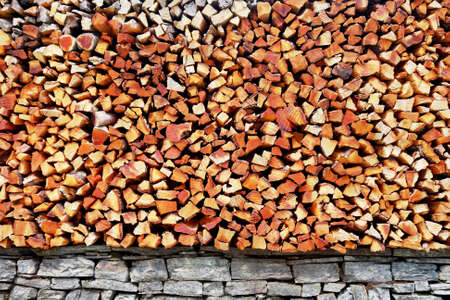 Pile of wood piece use for fuel fire