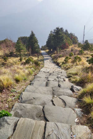 long distance stone stair down hill