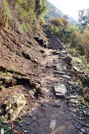 Rocky trekking way up the hill.