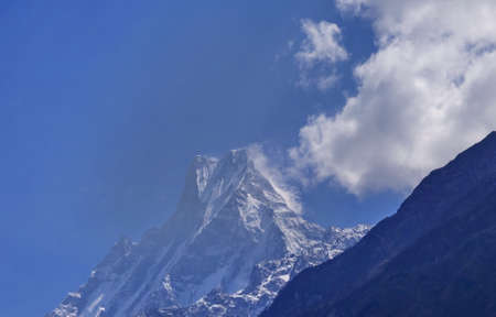 view of Fish Tail mountain also known as Machapuchare in the Annapuna, Nepal.