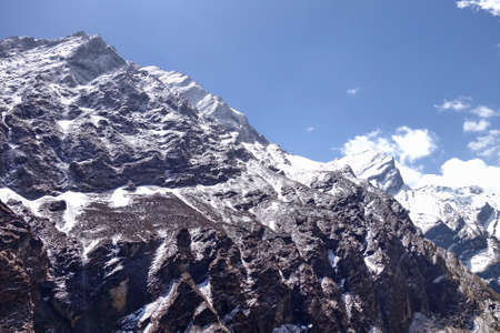 Close distance of Machhapuchhare or Mont.Fish Tail in Annapurna massif, Nepal. Stock Photo