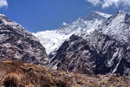 View on trekking way of  Machapuchare or Mont. Fishtail peak in Nepal