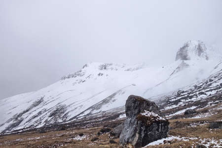 Cloudy sky before snow on trekking trail, Himalaya mountain.