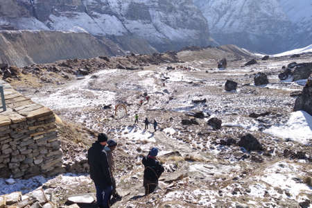 trekkers walking on summit of Annapurana base camp, himalaya Nepal.