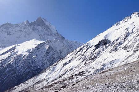 View of Machhapuchhre or Mont. Fishtail in Annapurana region, himalaya range, Nepal