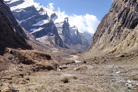 Beautiful mountain landscape of Annapurna, one of the most popular trekking pathway, Nepal Stock Photo