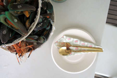 Mussels and shrimp on platter for part Stock Photo