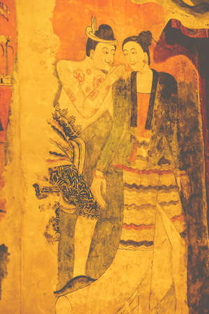 thai painting: Traditional Thai painting, northern thailand style Stock Photo