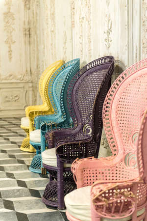 Stock Photo   Vintage Rattan Chairs Seat Many Colors