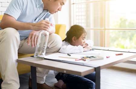 Drunken father teach your child to do homework and daughter crying at home,Family issues