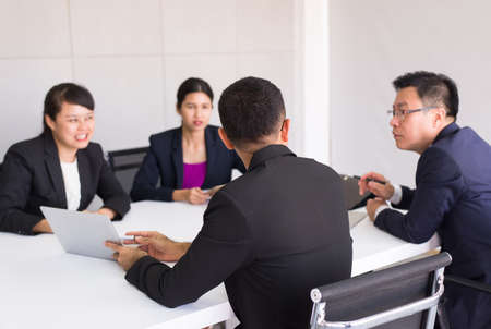 Asian business people in room meeting,Team group discussing together in conference at office