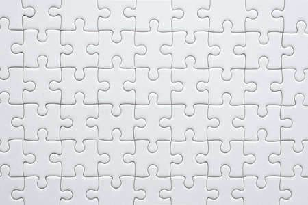 Puzzle pieces grid,Jigsaw puzzle white colour,Success mosaic solution template,Horizontal on white background copy space for text,Top view