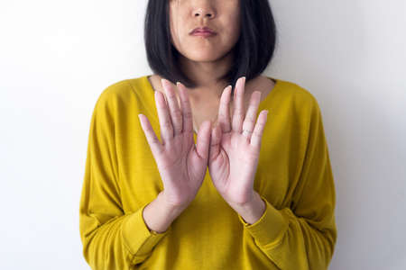Asian woman showing hands removes flaky skin,Health care skin concept,Close up Imagens