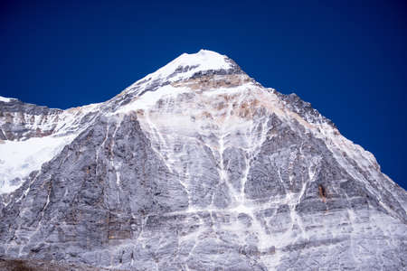 Beautiful snow mountain peak with clear blue sky in Yading natural reserve,Nature landscape