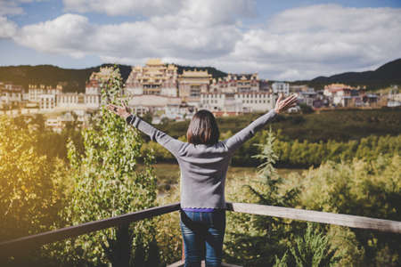Happy and cheering woman stands with raised up hands and looking beautiful amazing view at outdoor Imagens