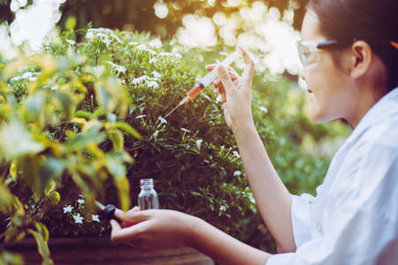 Asian woman researcher using syringe for examining and study information data in the garden