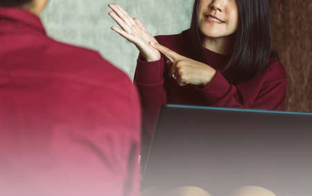 Psychiatrist asian woman talking and counseling to man patient,Suicide prevention,Mental health care concept Stock Photo