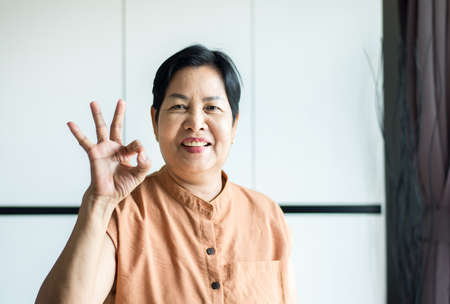 Portrait of middle age asian woman smiling face and showing ok sign at home,Health care insurance concept