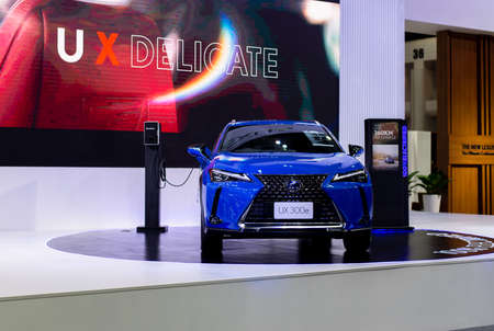 NONTHABURI, THAILAND - March 25,2021 : View of lexus ux300e car on display at Thailand International Motor Show 2021, exhibition of vehicles for sale in Nonthaburi,Thailand