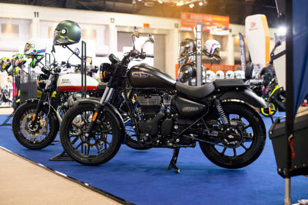 NONTHABURI, THAILAND - March 25,2021 : View of Royal Enfield Meteor 350 on display at Thailand International Motor Show 2021, exhibition of vehicles for sale in Nonthaburi,Thailand Editorial