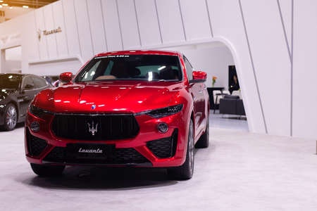 NONTHABURI, THAILAND - March 25,2021 : View of Maserati Levante red color on display at Thailand International Motor Show 2021, exhibition of vehicles for sale in Nonthaburi,Thailand