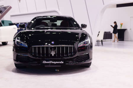 NONTHABURI, THAILAND - March 25,2021 : View of Maserati Quattroporte car on display at Thailand International Motor Show 2021, exhibition of vehicles for sale in Nonthaburi,Thailand Editorial