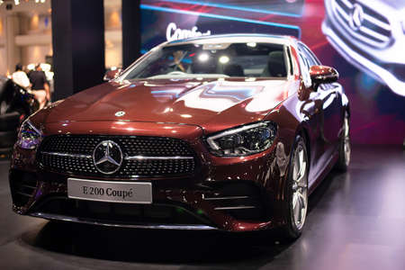 NONTHABURI, THAILAND - March 25,2021 : View of Mercedes-Benz E 200 Coupe' AMG car on display at Thailand International Motor Show 2021, exhibition of vehicles for sale in Nonthaburi,Thailand
