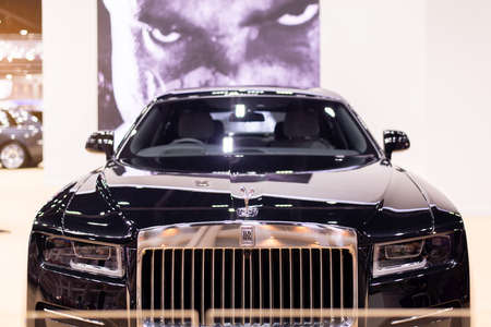 NONTHABURI, THAILAND - March 25,2021 : View of front Rolls-Royce Ghost car on display at Thailand International Motor Show 2021, exhibition of vehicles for sale in Nonthaburi,Thailand