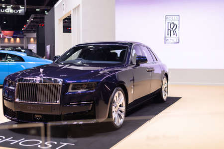 NONTHABURI, THAILAND - March 25,2021 : View of Rolls-Royce Ghost car on display at Thailand International Motor Show 2021, exhibition of vehicles for sale in Nonthaburi,Thailand Editorial