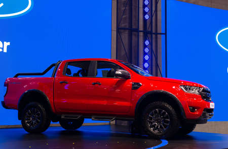 NONTHABURI, THAILAND - March 25,2021 : View of New Ford Ranger FX4 Max car on display at Thailand International Motor Show 2021, exhibition of vehicles for sale in Nonthaburi,Thailand Editorial