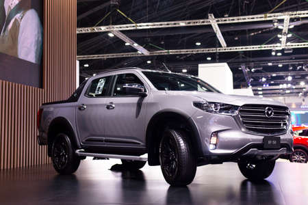 NONTHABURI, THAILAND - March 25,2021 : View of All-New Mazda BT-50 hi racer car on display at Thailand International Motor Show 2021, exhibition of vehicles for sale in Nonthaburi,Thailand Editorial