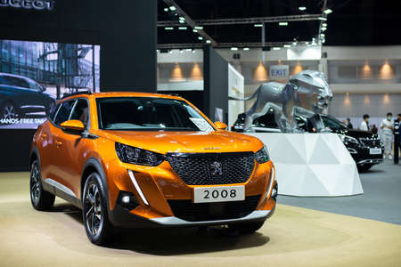 NONTHABURI, THAILAND - March 25,2021 : View of All NEW Peugeot 2008 car on display at Thailand International Motor Show 2021, exhibition of vehicles for sale in Nonthaburi,Thailand