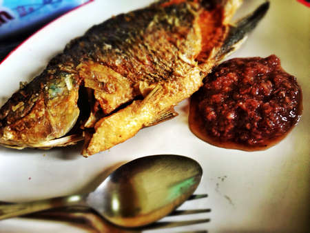 anchovy: Fried fish with anchovy Stock Photo