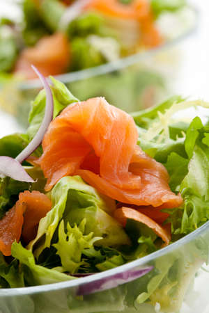 Salad - smoked salmon with vegetables Stock Photo