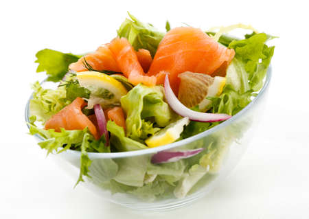 Salad - smoked salmon and vegetables photo