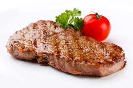 steak plate: Grilled steak Stock Photo