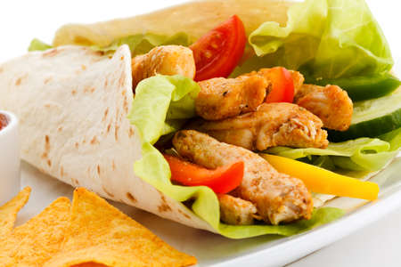 chicken grill: Kebab - grilled meat and vegetables Stock Photo