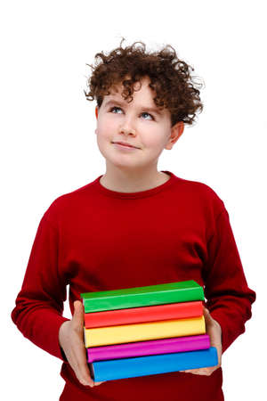 13 14 years: Boy holding books isolated on white background