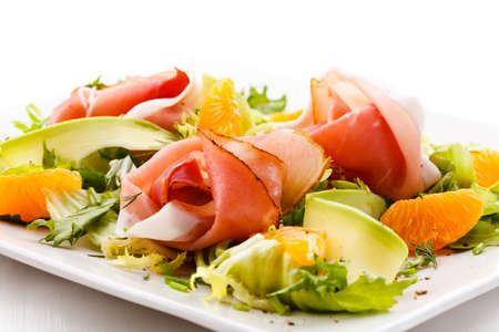 Salad - smoked bacon and vegetables photo