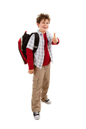 ok sign: Student with backpack standing on white background