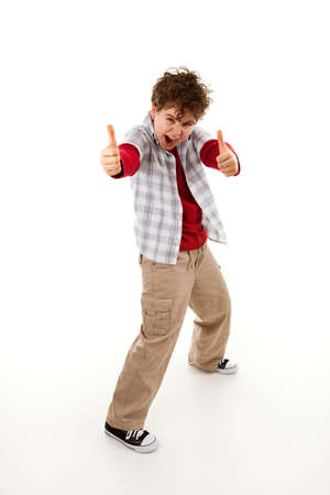Boy showing OK sign on white background photo